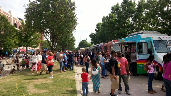 a row of food trucks...