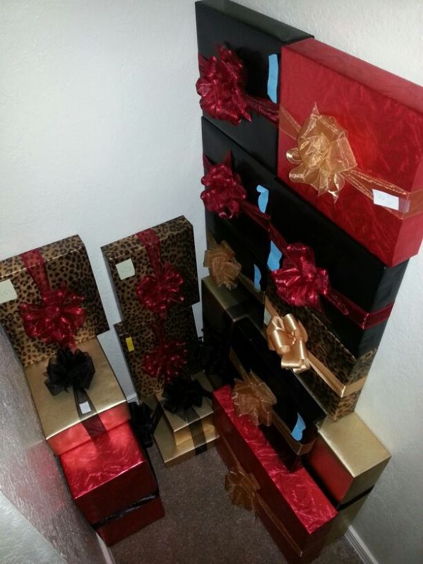 hiding fully wrapped gifts in a closet.