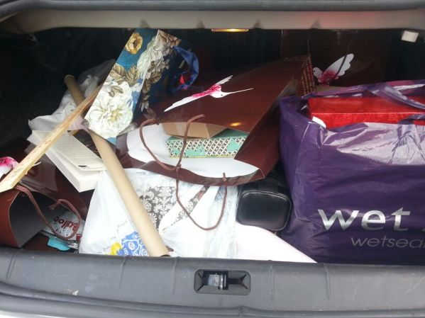 hiding gifts results in only one thing: putting them in the trunk.