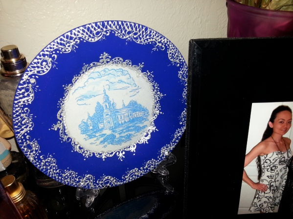 i write to a little russian girl back home. she spends her summers with her grandmother in russia. her grandmother did the silver design on the plate BY HAND. it is one of the most amazing gifts i have ever received.
