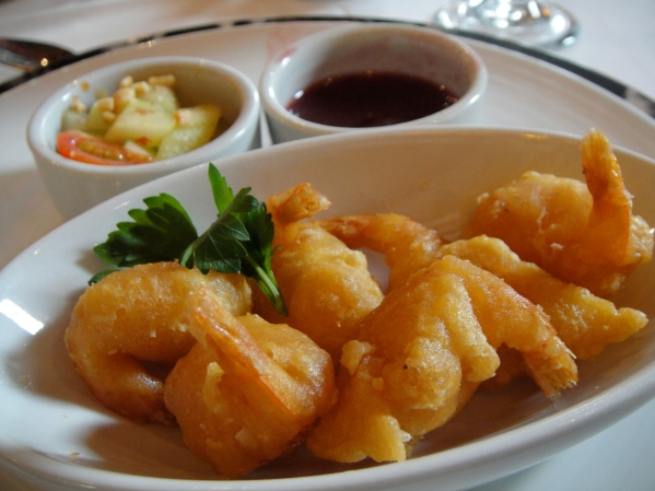 shrimp. with a fantastic marinated cucumber side dish.